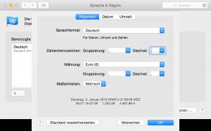 Mac OS X Einstellung für Zahlentrennzeichen