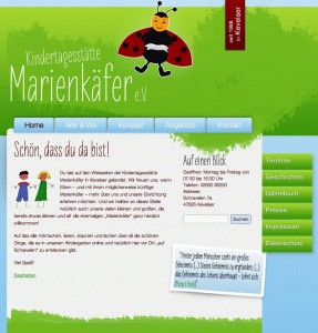 Screenshot: Website der Kindertagesstätte Marienkäfer